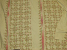 Vintage Chic Yellow Pink Flower Cotton Linen Full/standard Duvet Cover 4pc Set