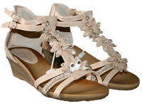 LADIES BEIGE WEDGE HEEL STRAPPY SANDAL WITH FLOWER TRIM AND BACK ZIP SIZE 3