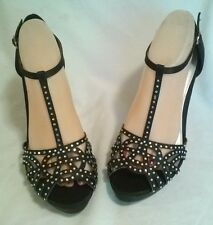 FIONI NIGHT BLACK SATIN  WITH BLING HIGH HEEL SHOES SIZE 9W NEW