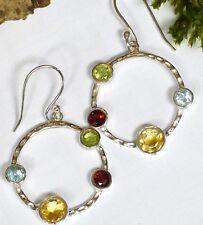 zauberhafte 925 Silber Ohrhänger Granat Peridot Topas Citrin Ohrschmuck Ohrringe