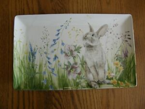 Williams Sonoma Floral Meadow Bunny Rectangular Serving Platter / Tray - New