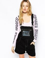 THE RAGGED PRIEST TOPSHOP BLACK DENIM METAL LOGO DUNGAREES ROMPER S/M 6 8 10