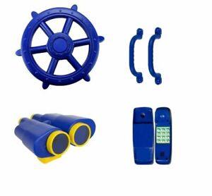 BLUE Playground Accessories Pack Ship Wheel Binoculars Telephone Handles Cubby
