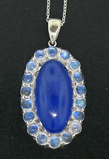 "Vintage 14K White Gold Large Oval Lapis Pendant w/ Moonstone Halo &18"" WG Chain"