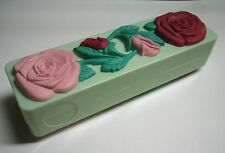 Vintage Mid-century 50's Chic Roses Travel Mirror & hair Brush Set Mint green