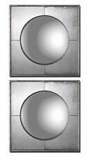 "Pair Designer 16"" MIRRORED SQUARES Wall Art Mirror Convex Set of 2"