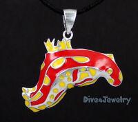 Sterling Silver Colourful Nudibranch Sea Slug Pendant Necklace diver Jewellery