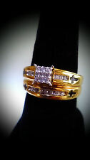 18K Gold Plated .925 Sterling Silver & Diamonds Cross Bridal Set Ladies Ring..!!