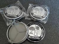 4X Logo mercedes full black caps Cache moyeu centre roue 75mm jante badge AMG