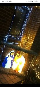 VINTAGE Christmas Blow Mold Nativity Set Jesus Joseph Mary Grand Venture w/ box