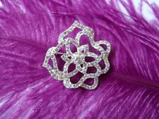 Flower Style Brooch Gift Gifts Avon Silver Plated Diamante Rhinestone Vintage