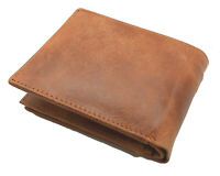 Brown Handcrafted Cowhide Leather Men's Bifold Premium Wallet Flap Top