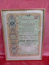 Nice Picture __ Old French Document 1897 (Share )__ Framed, Behind Glass _