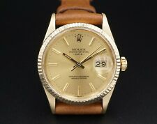 Vintage 15037 Mens Rolex Datejust 14k Gold Warranty Papers Leather 34mm W308