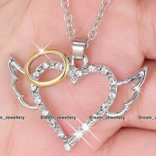 Angel Wings Heart Necklace Rose Gold & Silver Jewelry Gift for Her Girlfriend 2T
