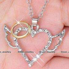 ALI d'angelo cristalli cuore collana argento & ROSE ORO GIOIELLI Xmas Regali di vendita