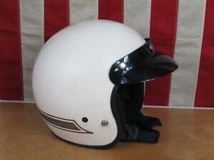 Vintage Harley Davidson Motorcycle Helmet Model A White w/Snap Visor Large Nice!