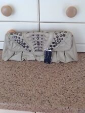 LOVELY WAREHOUSE BEIGE LEATHER STUDDED CLUTCH BAG NEW WITH DEFECTS SOME MARKS
