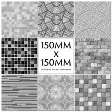 Mosaic Tile Stickers Decals Kitchen Transfers Black Grey 150mm or 100mm