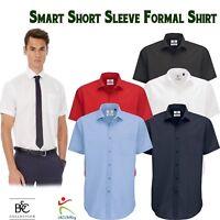 B&C New Mens Smart Short Sleeve Poplin Shirt Formal Corporate Business Work Wear