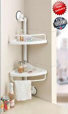 2 Tier Kitchen and Bath Hanging Toilet Corner Shelf Rack Storage Adjustable