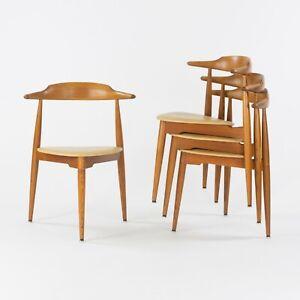 1950s Hans Wegner Stacking Heart FH4103 Oak Dining Chairs Fritz Hansen Denmark