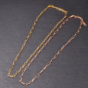 Woman 18K Gold Plated Stainless Steel Rolo Link Choker Chain Necklace 16-18 inch