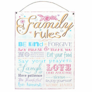 """NEW METAL QUOTE PLAQUE """"FAMILY RULES"""" HOME HOUSE LOVE KINDNESS PATIENCE SIGN SD"""
