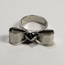 Bow Ring & Rivet Spike Silver Tone Size 7