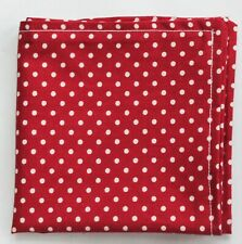 Hankie Pocket Square Handkerchief  RED  / WHITE POLKA DOT Cotton UK Made