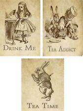 Vintage inspired Alice in Wonderland sepia tea bag envelopes party favors set 6