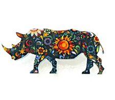 Rhino Rhinoceros Large Floral Multicolor Acrylic Pin Brooch Jewelry