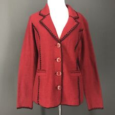 CAROLE LITTLE Sweater M Red 100% Boiled Wool Embroidered Cardigan