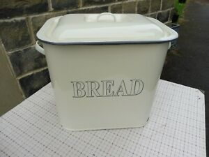 Vintage enamel cream bread bin