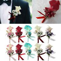 Men Women Wedding Calla Boutonniere Artificial Flower Groom Brooch Bridal Clipon