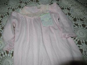 nwt Kissy Kissy pink smocked polkadot infant gown baby girl 6 m free ship USA
