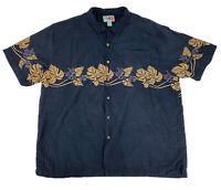 Hilo Hattie Men's Camp Hawaiian Floral Button Up Silk Black S/S Shirt 2XL EUC