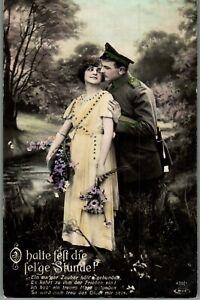Early 1900s German Soldier Woman Couple Tinted RPPC Photo Postcard Ephemera