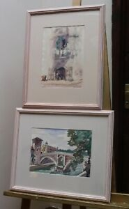 TWO WATERCOLOURS ROME LISTED ARTIST JULIUS DELBOS 1925  FREE SHIPPING TO ENGLAND