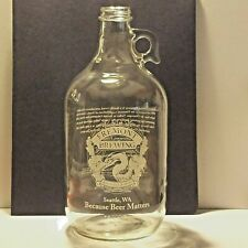 Fremont Brewing Seattle, WA Clear Glass Beer Growler 64oz Bottle No Lid