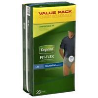 Depend FIT-FLEX Incontinence Underwear, Maximum, L/XL, 28/Box -Torn Packaging