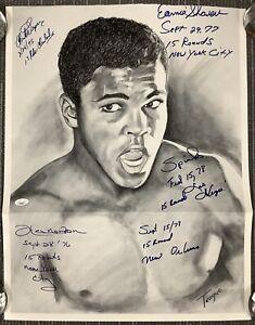Ken Norton Signed Print 18x23 Muhammad Ali Art + Spinks Shavers Wepner Auto JSA