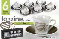 SET 6 TAZZINE CAFFE' IN PORCELLANA DEC CUORE+PIAT. TONDO COLORI ASS ELA-653728