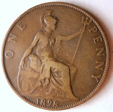 1898 Great Britain Penny - Excellent Late Victoria - Free Shipping - Hv7