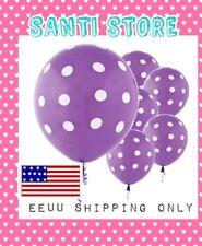 "6 Purple White Polka Dot Spotty Birthday Party 12"" Printed Latex Balloons"