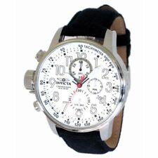 Invicta 1514 Men's Lefty White Dial Black Strap Chronograph Watch