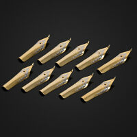 NEW 10pcs Gold Plated Iridium Point Bent Calligraphy Fountain Pen Nibs