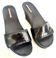 PRADA 3X4726 Womens Size 36.5 6.5 Black Slides Platform Wedge Sandals Slip On
