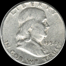 A 1954 P Franklin Half Dollar 90% SILVER US Mint (Exact Coin Shown) 997