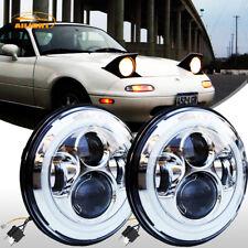 90-97 Mazda Miata MX5 MX-5 H6024 Pair Full LED Headlight Lights Halo Angel Eye